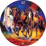 Art-Puzzle-5004 Puzzle Horloge - Chevaux (Pile non fournie)