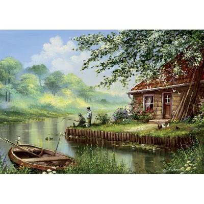 Puzzle Art-Puzzle-5071 Evening Fishing Rod