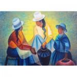 Puzzle  Art-by-Bluebird-60140 Louis Toffoli - Femmes à la Potiche Bleue, 1977