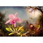 Puzzle   Martin Johnson Heade - Cattleya Orchid and Three Hummingbirds, 1871