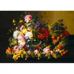Puzzle   Severin Roesen - Still Life, Flowers and Fruit, 1855