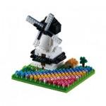 Brixies-58655 Nano Puzzle 3D - Moulin à Vent et Tulipes (Level 3)