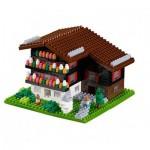 Brixies-58715 Nano Puzzle 3D - Chalet Suisse (Level 3)