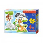 Castorland-005017 4 Puzzles -Pièces Maxi - Animaux d'Afrique