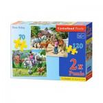 Castorland-021062 2 Puzzles - Leçon d'Equitation