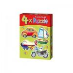 Castorland-04232 4 Puzzles - Moyens de transport