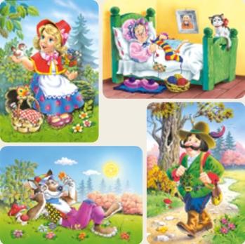 Castorland-04294 4 Puzzles : Le Petit Chaperon Rouge