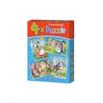 Castorland-04362 4 Puzzles : Blanche Neige et les 7 Nains