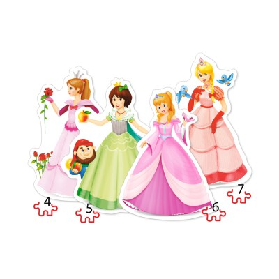 Castorland-04409 4 Puzzles - Princesses