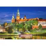 Puzzle  Castorland-103027 Pologne, Cracovie : Château Wawel la Nuit