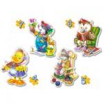 Castorland-4102-04225 4 Puzzles : Temps libre