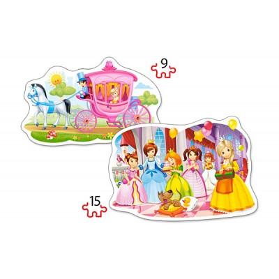 Castorland-B-020034 2 Puzzles Forme - Le Bal des Princesses