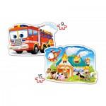 Castorland-B-020058 2 Puzzles Forme - Brigade des Pompiers en Action