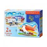 Castorland-B-020072 2 Puzzles - Airport Adventures