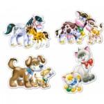 Castorland-B-04218 4 Puzzles : Chacun son petit