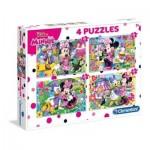 Clementoni-07615 4 Puzzles - Minnie