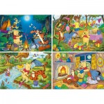 Clementoni-07618 4 Puzzles - Winnie L'Ourson (2x20, 2x60 Pièces)