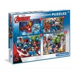 Clementoni-07722 4 Puzzles - Marvel Avengers