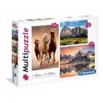 Clementoni-08107 3 Puzzles - Chevaux, Montagne, Mont Saint-Michel