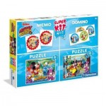 Clementoni-08217 Super Kit 4 in 1 - Mickey and The Roadster Racers - 2 Puzzles + Memo + Domino