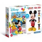 Clementoni-20157 Mickey Mouse (Puzzle + Modèle 3D)