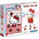 Clementoni-20171 Hello Kitty - Puzzle et Figurine