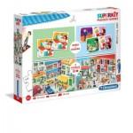 Puzzle  Clementoni-20239 Superkit Métiers - 2x30 Pièces + Memo + Domino