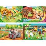 Clementoni-21304 4 Puzzles - La Ferme (2x20, 2x60 Pièces)