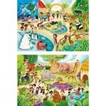 Puzzle  Clementoni-21603 Zoo (2 x 60 Pièces)