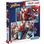 Clementoni-21608 2 Puzzles - Spiderman