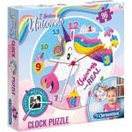 Clementoni-23035 Puzzle Horloge - Licorne