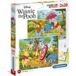 Clementoni-24516 2 Puzzles - Winnie l'Ourson