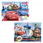 Clementoni-24699 Puzzle 2 x 20 pièces - Cars 2 : Course autour du monde