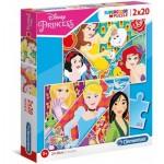 Clementoni-24766 2 Puzzles - Disney Princess