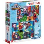 Clementoni-24768 2 Puzzles - Marvel Super Heroes