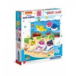 Clementoni-24777 2 Puzzles - Baby Shark