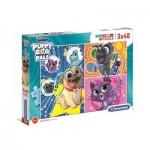 Clementoni-25247 3 Puzzles - Puppy Dog Pals