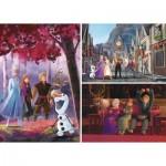 Clementoni-25255 3 Puzzles - La Reine des Neiges 2