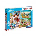 Clementoni-25266 3 Puzzles - Mickey