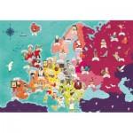 Puzzle  Clementoni-29061 Exploring Maps : Europe - Monuments + Personnes