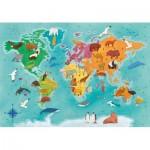 Puzzle  Clementoni-29063 Exploring Maps : Monde - Animaux