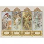 Puzzle  Clementoni-39177 Mucha : Les 4 saisons