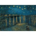 Puzzle  Clementoni-39344 Van Gogh Vincent : Nuit étoilée sur le Rhône