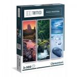 Clementoni-39800 3 Puzzles - Nature