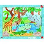 Dino-32223 Puzzle Cadre - Au Zoo