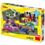 Dino-33320 4 Puzzles - Mickey and the Roadster Racers
