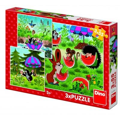 Dino-33526 3 Puzzles - Petite Taupe et le Parapluie