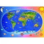 Puzzle  Dino-47213 Carte du Monde pour Enfants (en anglais)