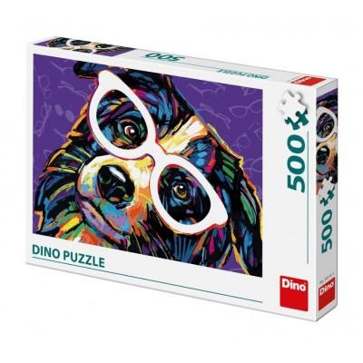 Puzzle Dino-50235 Chien avec des Lunettes