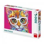 Puzzle  Dino-50236 Chat avec des Lunettes